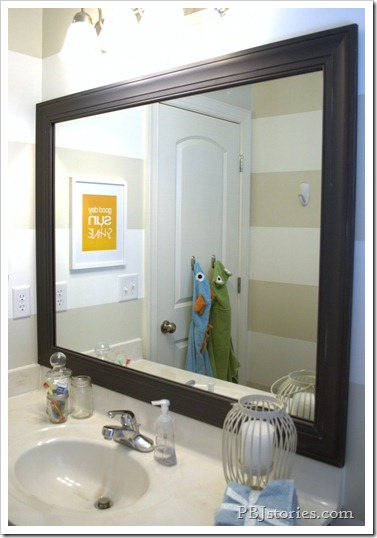 PBJstories.com Bathroom Reveal Framed Mirror DIY
