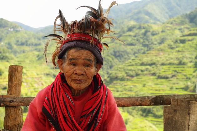 Elderly Ifugao Tribal Woman at Banaue Rice Terraces, Philippines