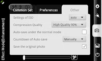 Other options allow you to adjust compression quality and ISO among other things