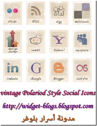 vintage Polariod Style Social Icons