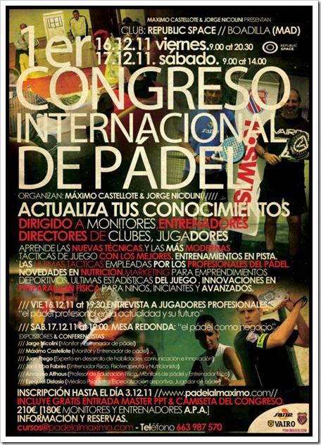 1er Congreso Internacional de Pádel en Madrid, organizado por Castellote y Nicolini, 16 y 17 diciembre de 2011.