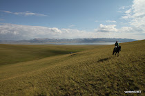 Alone on a horse in an empty landscape