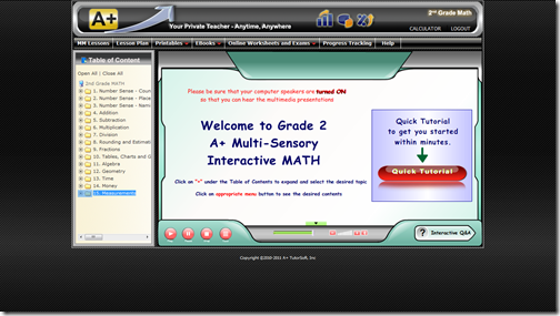 a plus tutor opening screen