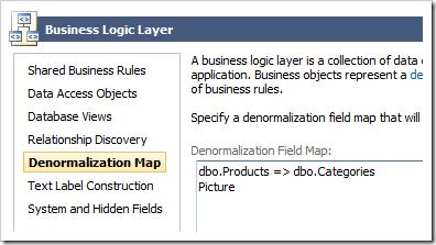 Defining a Denormalization Field Map in the Project Wizard.