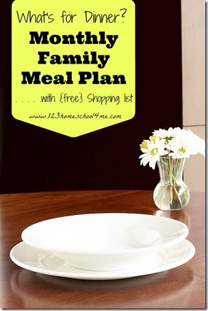 monthly family meal plan