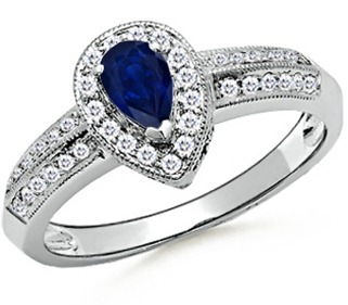 Pear Sapphire and Round Diamond Vintage Ring