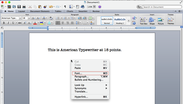 How to adjust font and font size in MS Word 2011