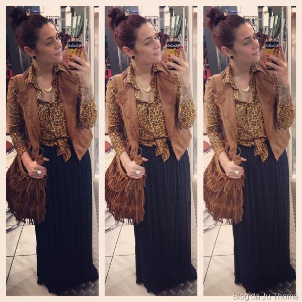 look com saia longa plissada, camisa estampada e colete de couro (1)