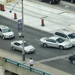 car collision on spadina bridge in Toronto, Ontario, Canada
