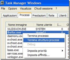 Task Manger di Windows processo firefox.exe