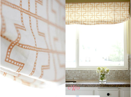This breezy geometric window treatment splashes color and texture in a pinch. (www.decor8blog.com)