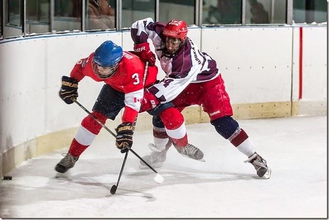 Přátelský zápas hlubockých hokejových dorostenců s kanadským týmem Whitby Wildcats
