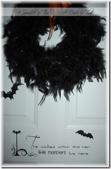 Halloween Front Door Wreath and Vinyl {A Sprinkle of This . . . . A Dash of That}