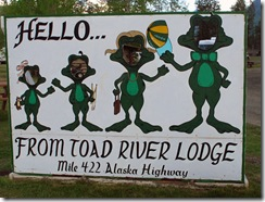Toad River Lodge sign