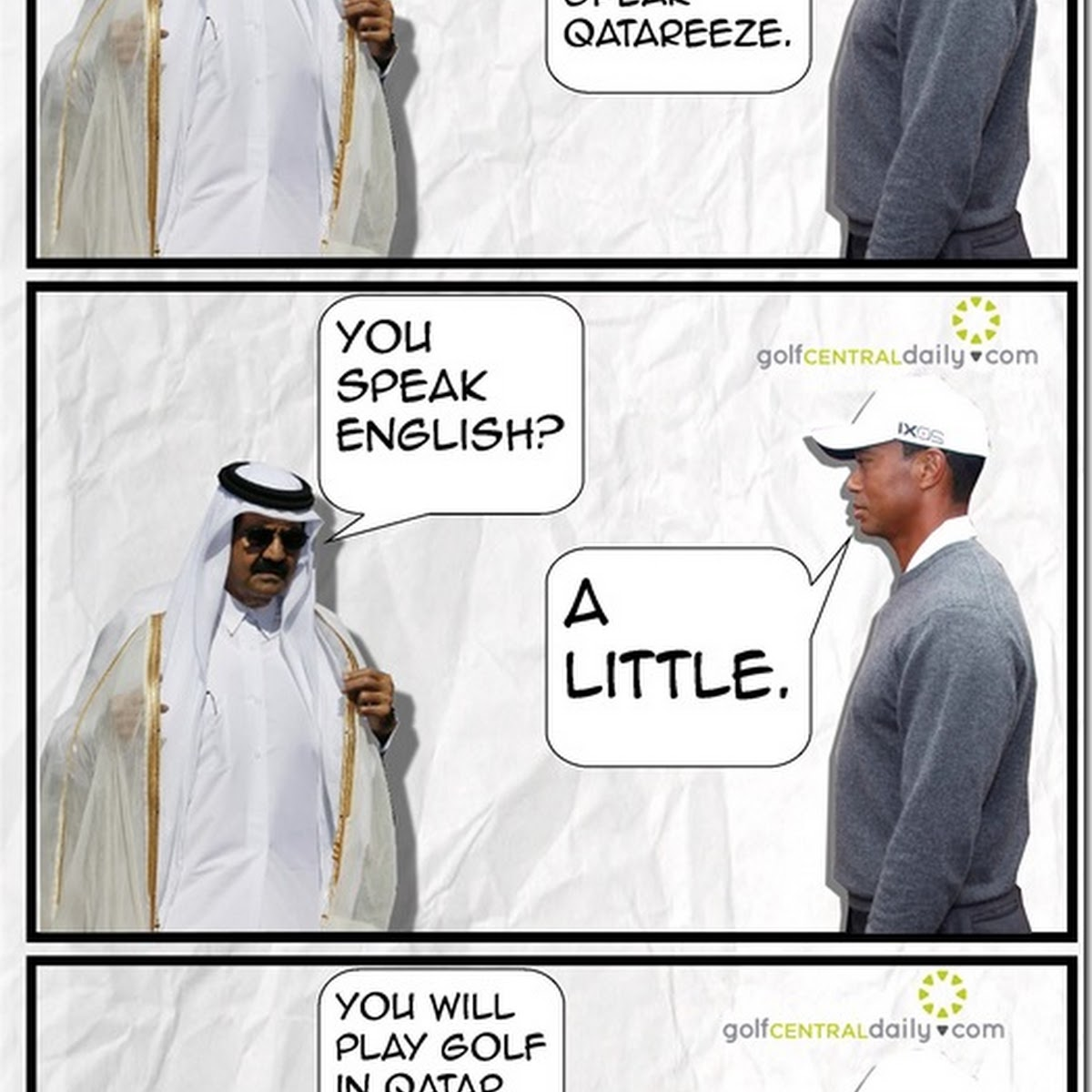GCD Funny: When Tiger Met The Qatar Sheikh to Discuss Terms!