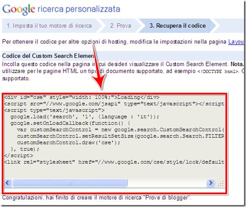 come incorporare motore di ricerca google personalizzato blog blogger wordpress