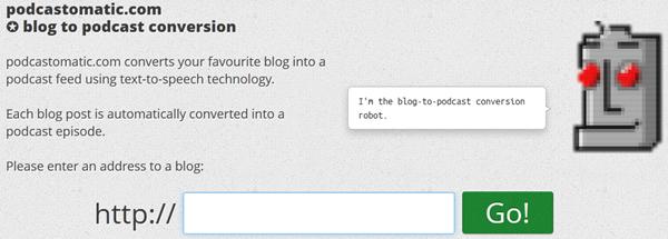 Convertir un blog en podcast en ligne automatiquement avec podcastomatic