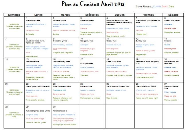 Reyna orozco meraz plan de men s para abril 2013 for Plan semanal de comidas
