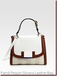 Pequin Silvana Woven Straw & Leather Bag Fendi