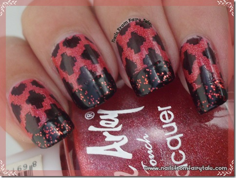 black and red french manicure with stamping 3