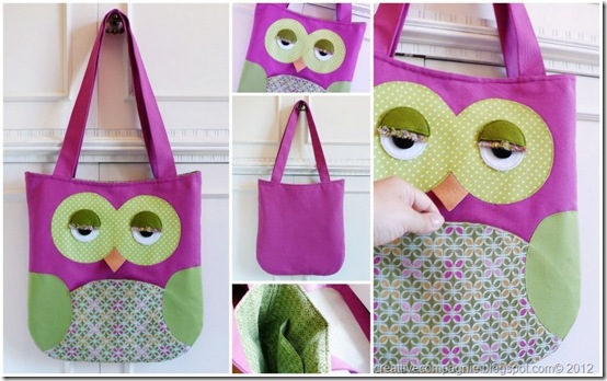 borsa gufo - Owl tote bag - pink green[7]