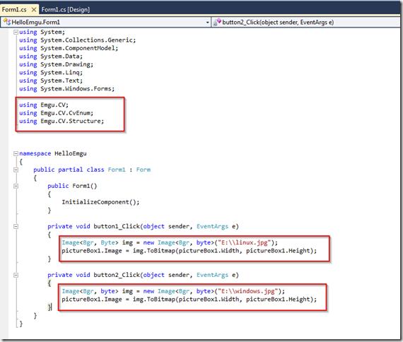HelloEmgu - Microsoft Visual C# 2010 Express