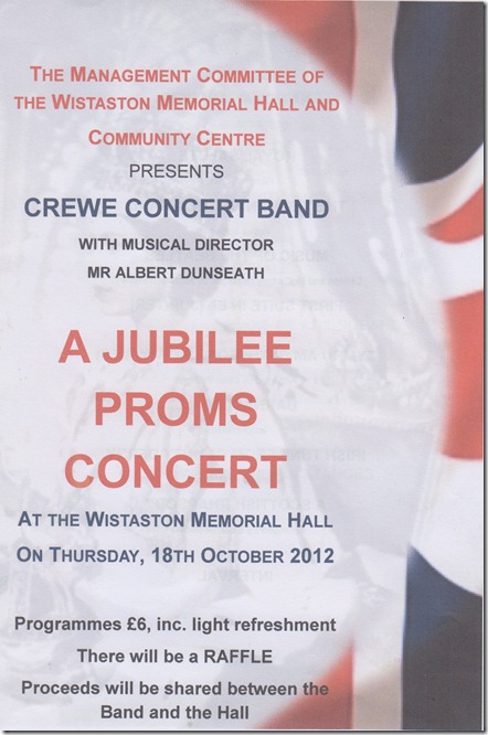 Jubilee Proms Concert - Thurs 18-10-12 - Wistaston Memorial Hall