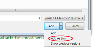 Add as Link in VS2010