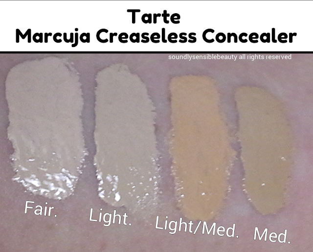 Tarte Marcuja Creaseless Concealer; Review & Swatches of Shades  Fair, Light, Light/Medium, Medium