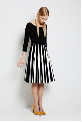 Tipo.  A pleated skirt with graphic pattern.