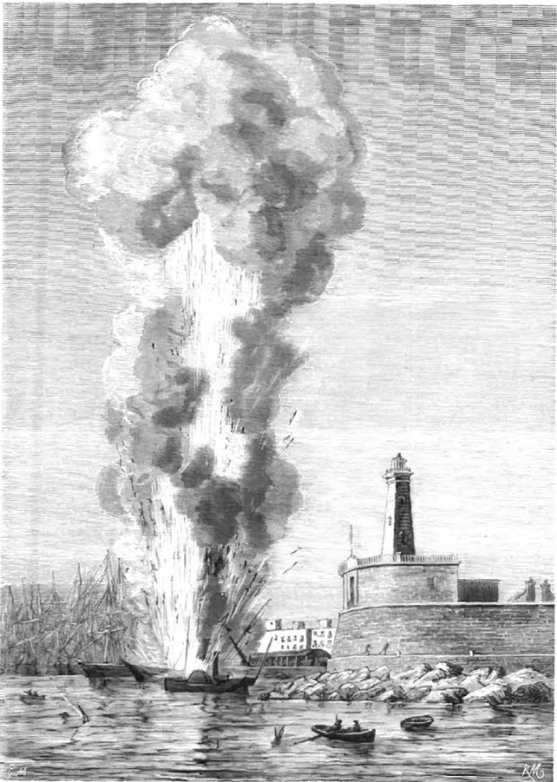 Explosión del vapor EXPRESS en el puerto de Barcelona. Grabado de Monleon aparecido en LA ILUSTRACION ESPAÑOLA Y AMERICANA. Año XIX, edición de 30 de agosto de 1875. Numero XXXII.bmp