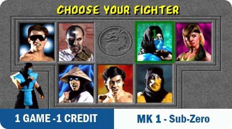 1 game - 1 credit - MK1-Sub-Zero