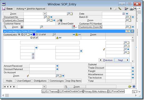SOP Entry window in modifier