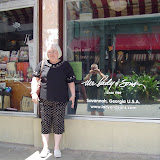 Linda in front of Lady & Sons restaurant.