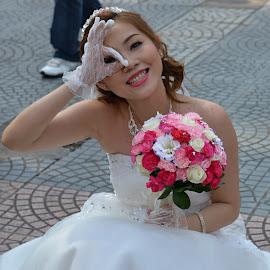 Of course, I am very happy.  by Marcel Cintalan - Wedding Bride ( wedding, happiness, vietnam, saigon, flowers, bride )