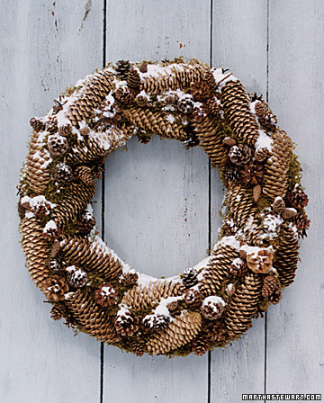 Gather or purchase pinecones to create this rustic wreath that is perfect for the outdoors. I love how the snow adds to it as the weather changes.