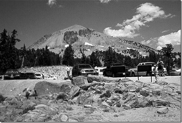 Lassen Peak from Bumpass Hell Parking Lot, Lassen Volcanic National Park, California.  July 2004.