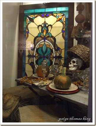 stained glass and skull