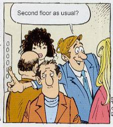 "Man (to woman): ""Second floor as usual?"""