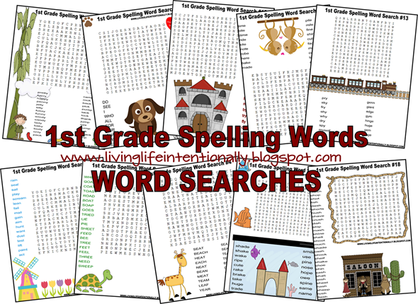 FREE 1st Grade Spelling Words Word Search