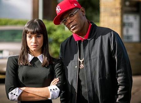 Sofia Boutella and Samuel L. Jackson in KINGSMAN THE SECRET SERVICE