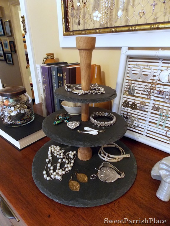 Slate serving tower from UncommonGoods- used as a jewelry station