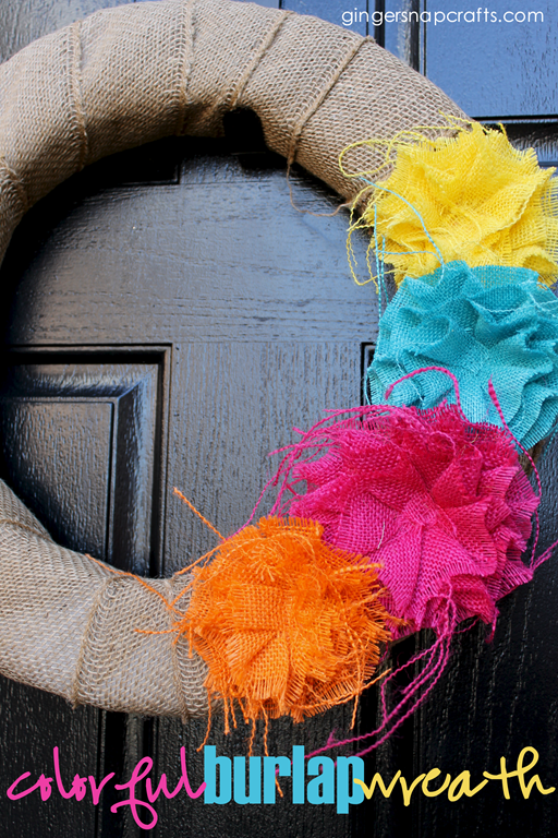 colorful burlap wreath at GingerSnapCrafts.com #burlap #wreath