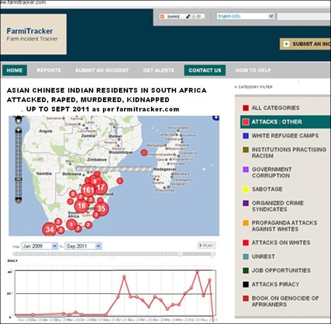 ASIAN INDIAN SOUTH AFRICANS ATTACKED MURDERED RAPED SOUTH AFRICA 2010 2011 FARMITRACKER