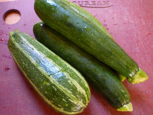 Fresh from the farmers' market zucchini-two different types.