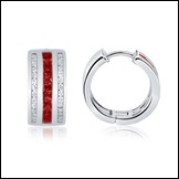 Square Ruby and Diamond Hoop Earrings in 14K White Gold