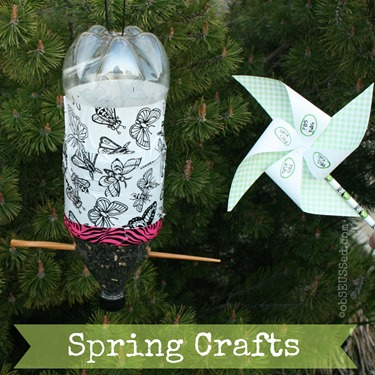 Bird Feeder Soda Bottle Pinwheel Spring Crafts obSEUSSed