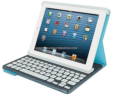 LOGITECH KEYBOARD FOLIO mini iPAD TABLET CASE PROTECTIVE COVER SINGAPORE fashionably slim compact Bluetooth keyboard sleek traditional typing Mystic Blue Electric Blue Sunflower Yellow save screen space hands free browsing