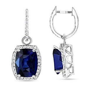 Cushion Sapphire and Round Diamond Hoop Earrings