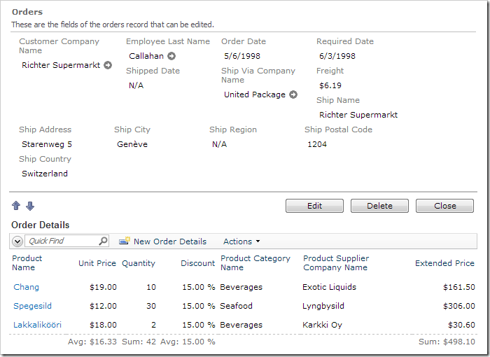 Order Form page with details of an order displayed. The order details grid view now displays less redundant data fields as well as several averages and sums.